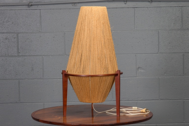 Teak & Jute Lamp by Ib Fabiensen for Fog & Morup