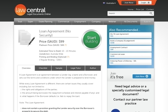 Image of Loan Agreement (No Security) from Law Central | Review