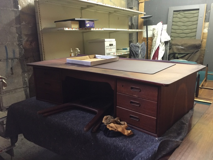 Danish Modern Curved Teak Desk