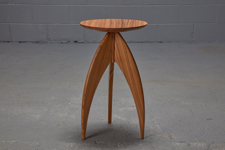 Solid Zebrawood Post-Modern 3-Legged Candlestand Side Table