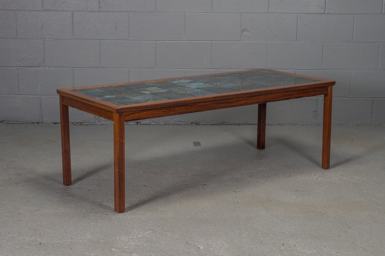 Rosewood and Tile Coffee Table