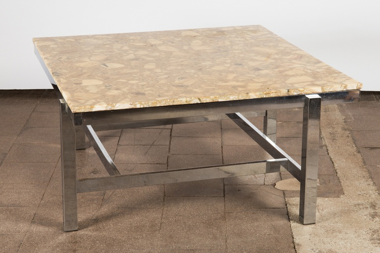 Side table on Chrome Base with Terrazzo Top