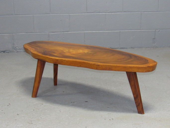 Solid Koa Wood Free Form Live Edge Coffee Table 1960s