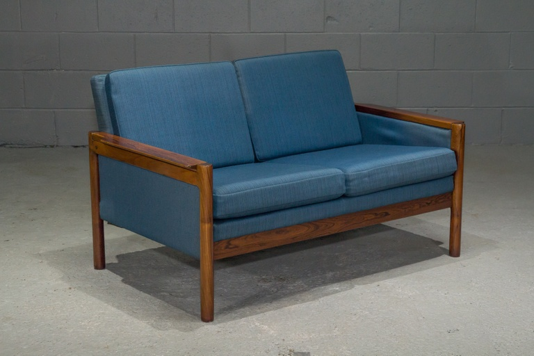 Danish Modern Rosewood Settee with Blue Textile