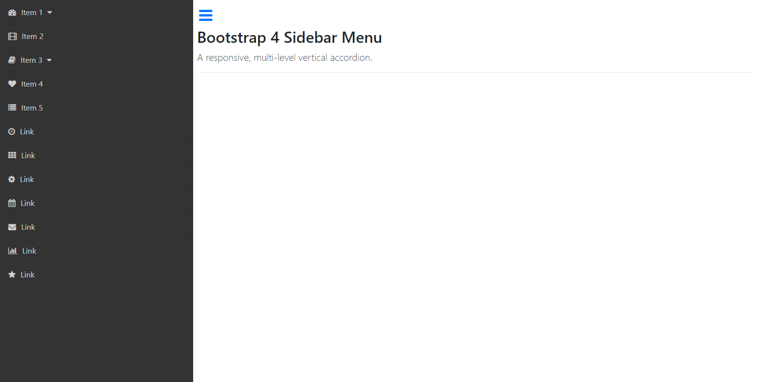 Bootstrap Pocket Guide - Sidebar Collapse