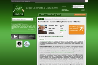 Image of Sub-Contractor Agreement Template for a one-off Service from LawLive Australia | Review