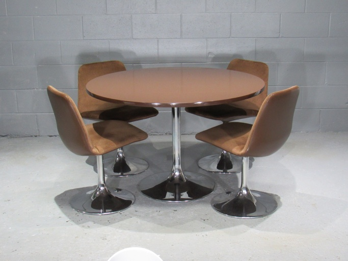 Chrome Tulip Table and 4 Dining Chairs by Borje Johanson