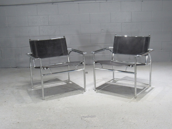 Pair of Black Leather and Chrome Armchairs