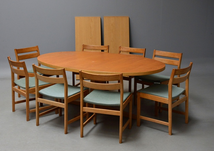 Eight Chairs with Corresponding Table by Kurt Stervig for KP Furniture