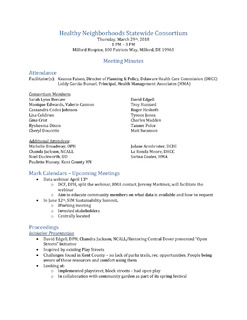 HN Statewide Consortium Meeting Minutes