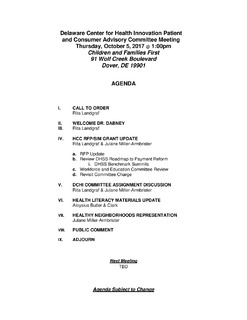 Delaware Center for Health Innovation Patient and Consumer Advisory Committee Meeting Agenda