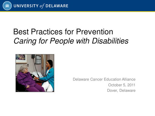 Best Practices for Prevention — Caring for People with Disabilities
