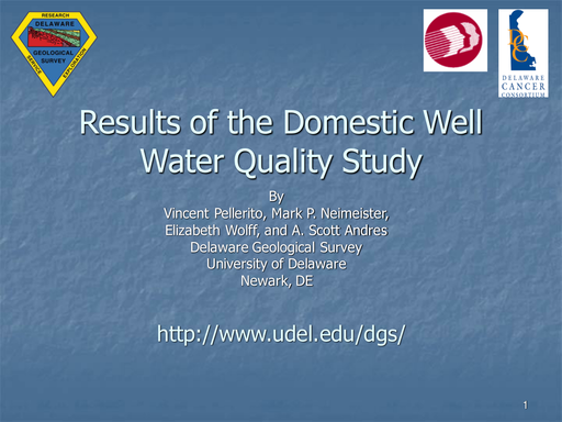 Results of the Domestic Well Water Quality Study