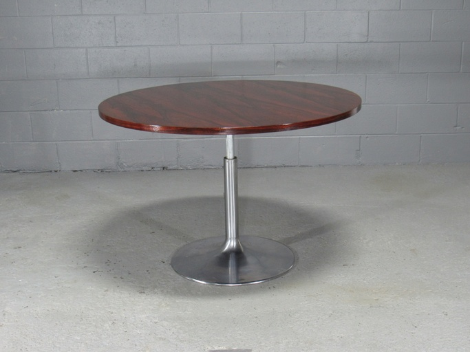 Height-Adjustable Round Rosewood Pedestal Table