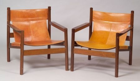 Pair of Leather and Wood Brazilian Sling Chairs