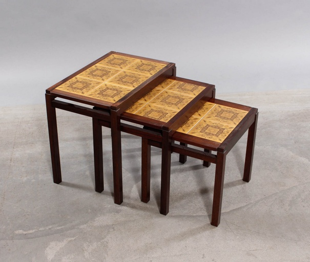 Set of 3 Rosewood and Ceramic Tile Nesting Tables