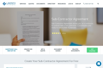 Image of Sub-Contractor Agreement from LawPath | Review