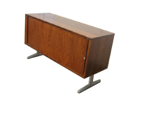 Rosewood Credenza with Brushed Aluminum Legs