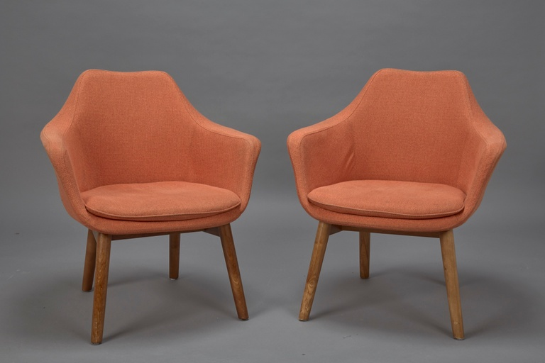 Pair of Orange Fabric Armchairs in Style of Eero Saarinen