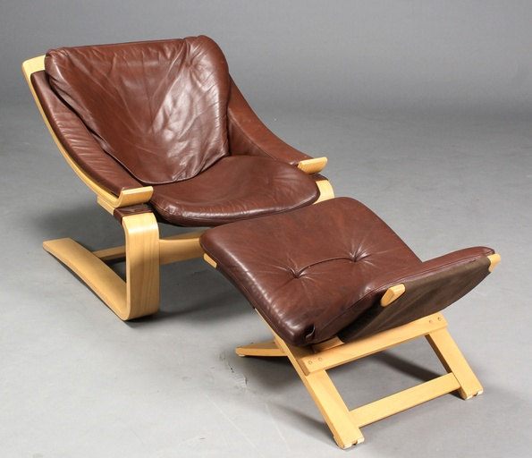 Kroken Lounge Chair and Stool by Ake Fribytter for Nelo, Sweden
