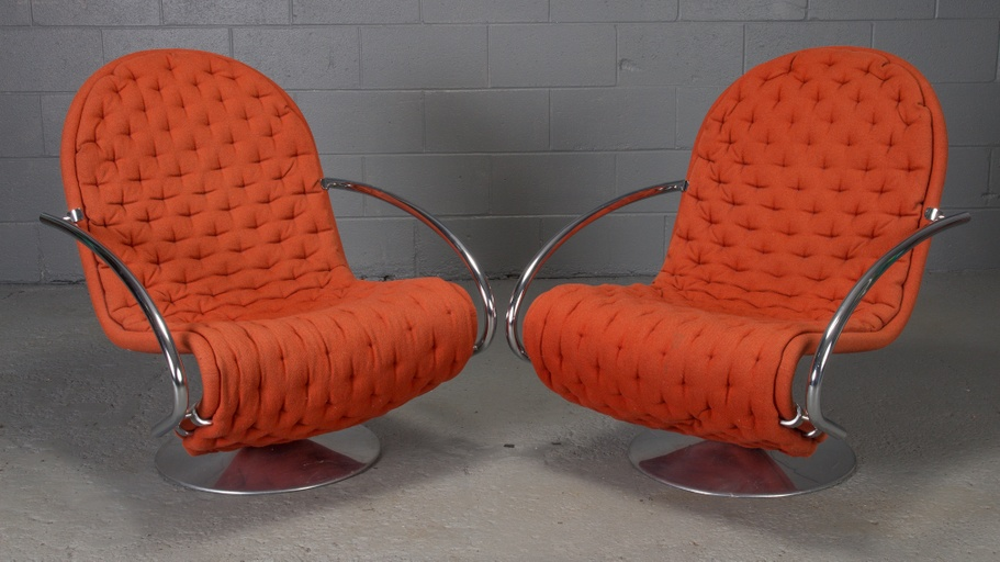 Pair of 1-2-3 Series Easy Chair Armchairs by Verner Panton for Fritz Hansen