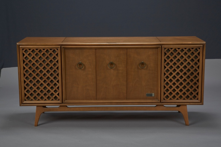 Zenith Stereophonic Stereo Cabinet with Record Player and Working Radio