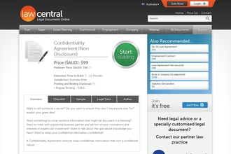 Image of Confidentiality Agreement (Non Disclosure) from Law Central   Review