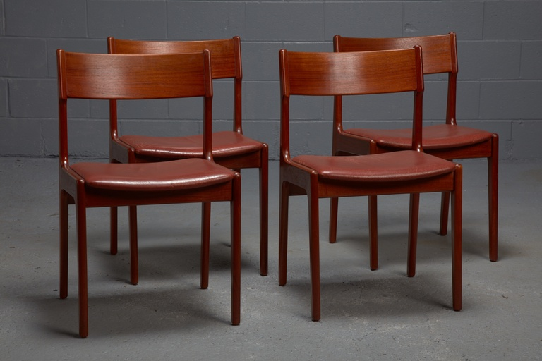 Set of 4 Teak and Leather Dining Chairs