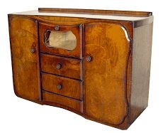 English Walnut Art Deco CredenzaC
