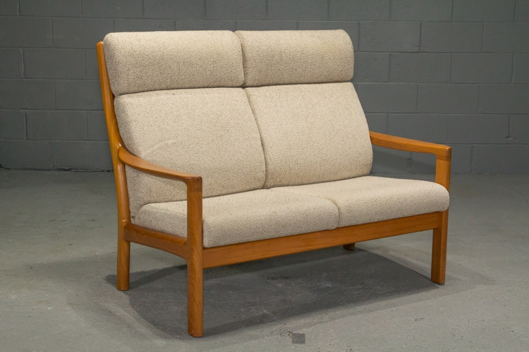 Teak High Back Loveseat by Johannes Andersen for CFC Silkeborg
