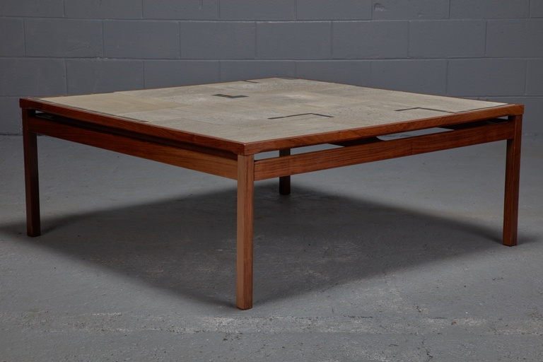 Large Danish Rosewood and Tile Coffee Table