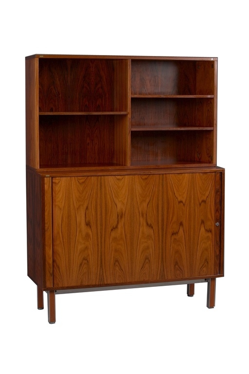 Danish Rosewood Tambour Door Wall Unit by Thorengaard