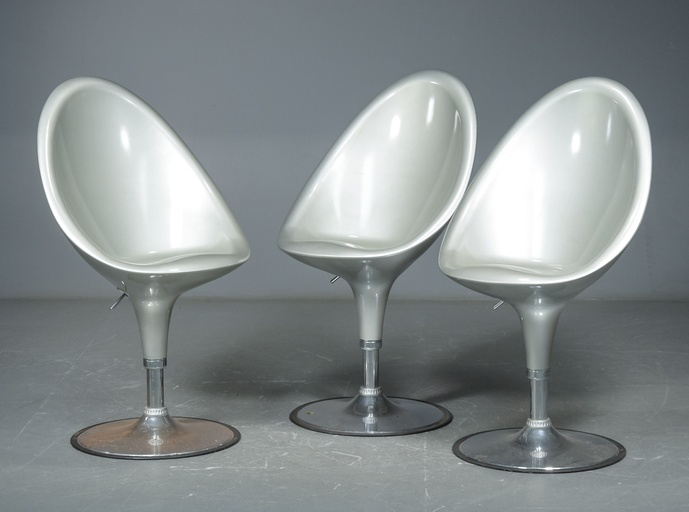 Set of Three Space-Age  Post-Modern Fiberglass Bar Stools