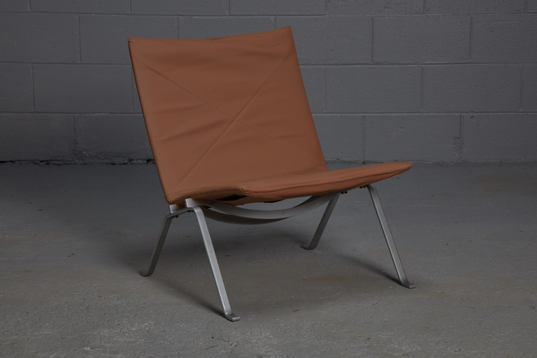 PK 22 Lounge Chair by Poul Kjærholm for E. Kold Christensen with Brown Leather