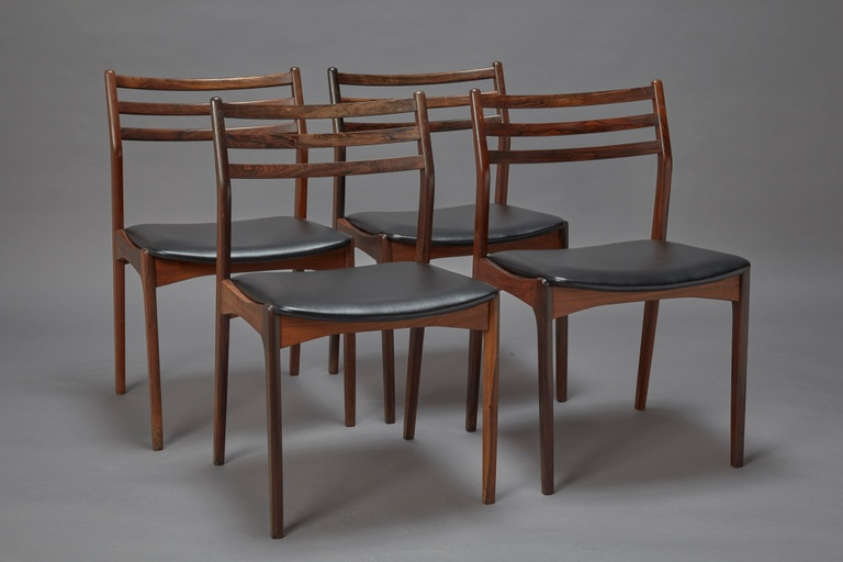 Set of Four Dining Chairs in Rosewood Attributed to Niels Otto Møller in style of Model 78