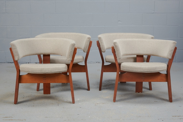 Set of Four Teak Barrel Chairs