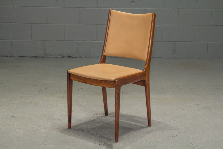 Set of 4 Danish Modern Rosewood and Leather Dining Chairs