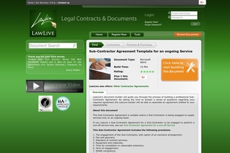 Image of Sub-Contractor Agreement Template for an ongoing Service from LawLive Australia | Review