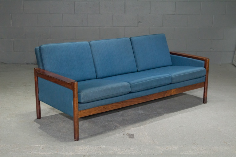 3-Seat Danish Rosewood Sofa with Blue Textile