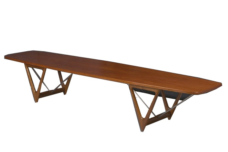 Large Teak Surfboard Coffee Table by Kurt Østervig for Jason Möbler