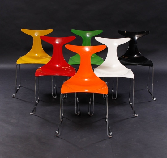 Set of 6 Delfy Lux Chairs by Gino Carollo