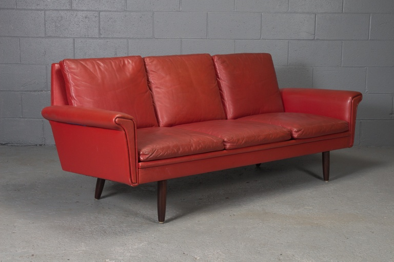 Danish Modern Red Leather Sofa