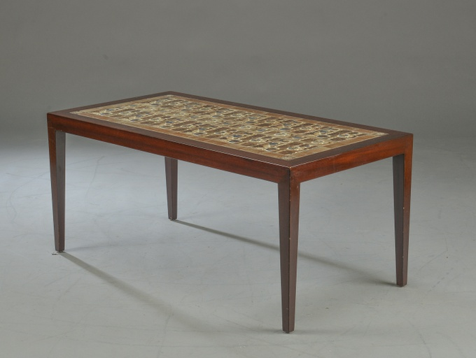 Danish Modern Rosewood and Ceramic Tile Coffee Table