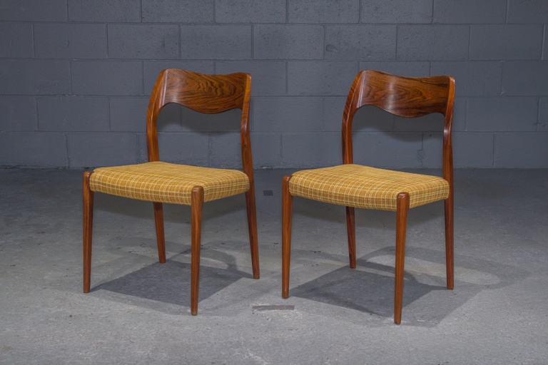 Pair of Danish Modern Model 71 Rosewood Dining Chairs by Niels Otto Møller