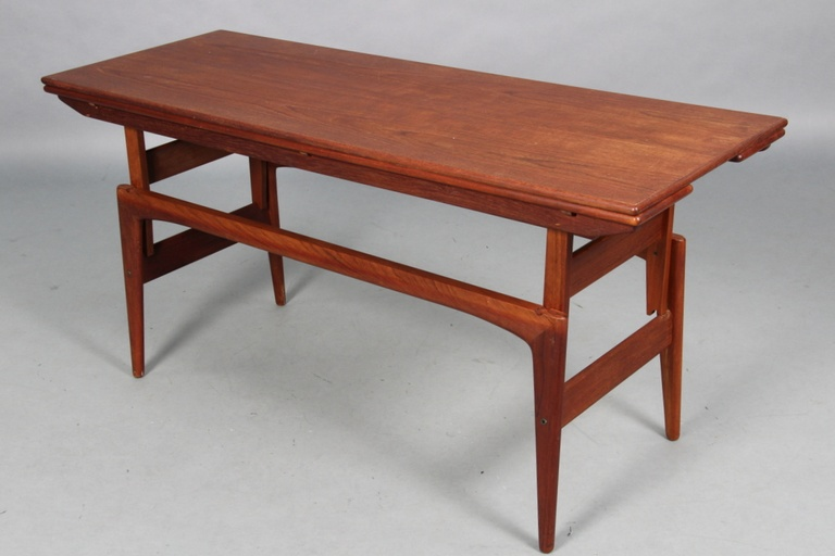 Teak Copenhagen Elevator Drop-Leaf Convertible Coffee to Dining Table