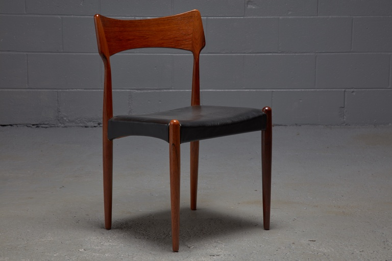 Set of 6 Rosewood and Black Leather Dining Chairs by Christian Linneberg