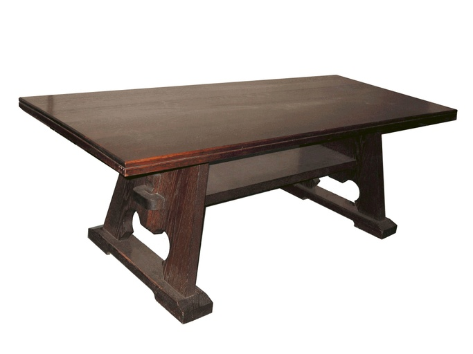 Arts and Crafts Oak Trestle Table
