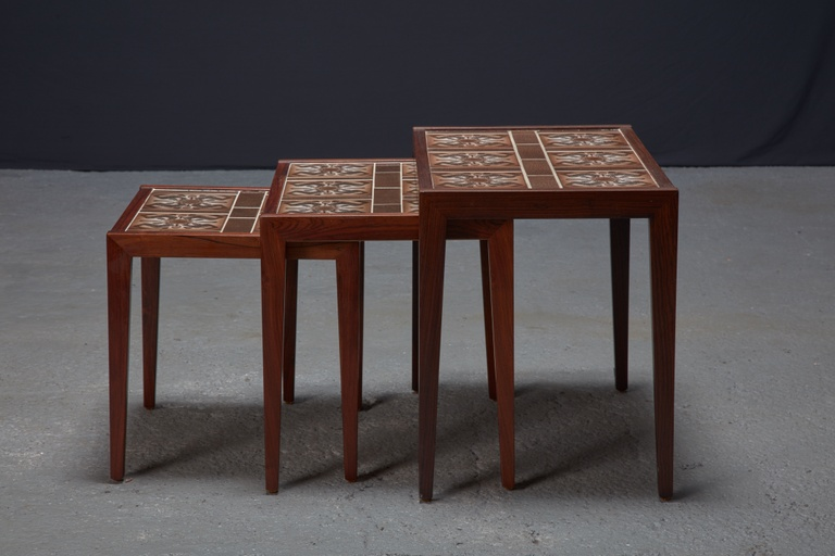 Set of 3 Rosewood and Tile Danish Modern Nesting Tables