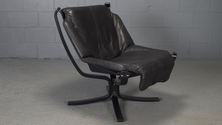 Black Leather Falcon Chair by Sigurd Ressell for Vatne Mobler