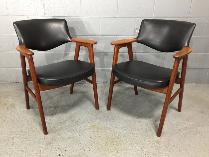 Set of 2 Teak and Black Leather Armchairs Erik Kierkegaard